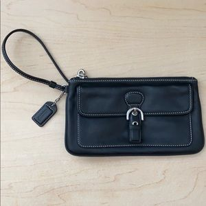 "Coach 8"" mini wristlet black clutch"